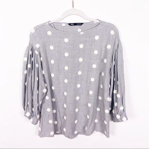 Zara Grey White Pom Pom Balloon Sleeve Blouse SM